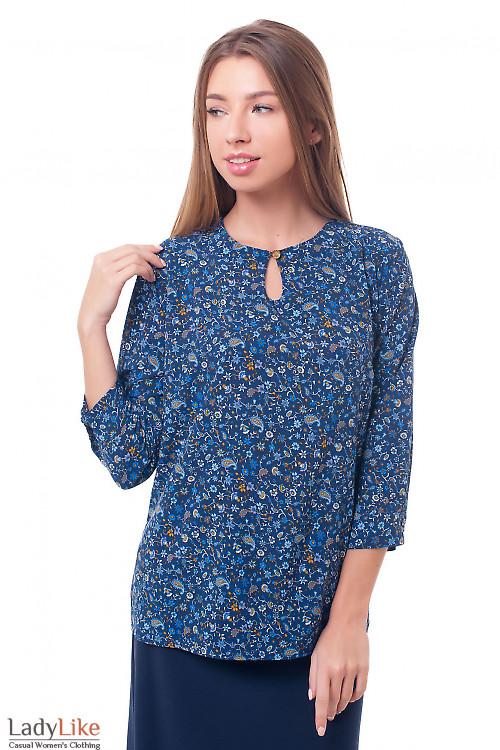 Блузка синяя с капелькой Деловая женская одежда фото