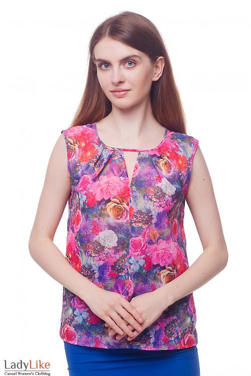 Блузка сиреневая в розовые цветы Деловая женская одежда фото