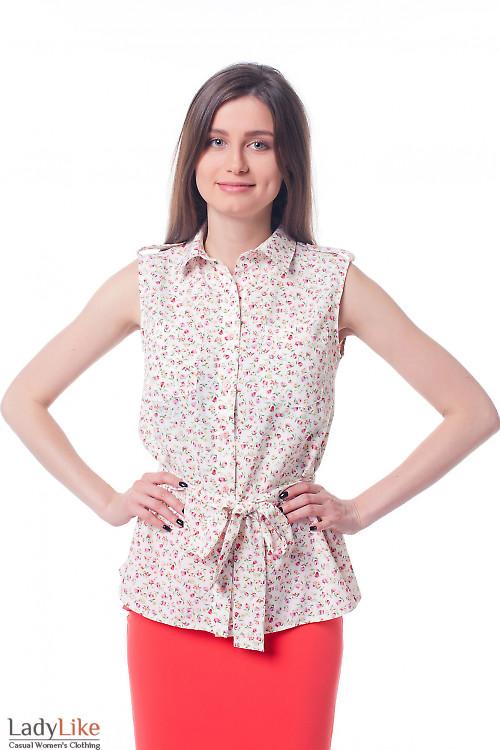 Блузка в тюльпанчики с карманами и поясом Деловая женская одежда фото