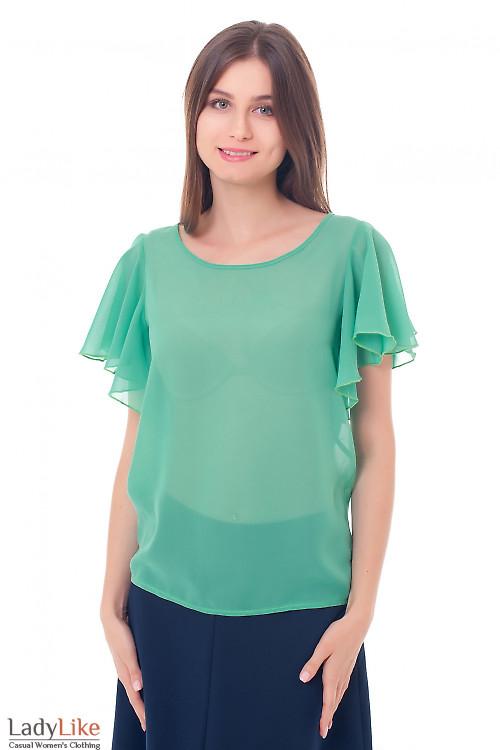 Блузка зеленая с крылышками Деловая женская одежда фото