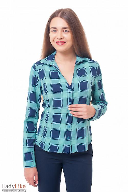 Блузка зеленая в крупную клетку Деловая женская одежда фото