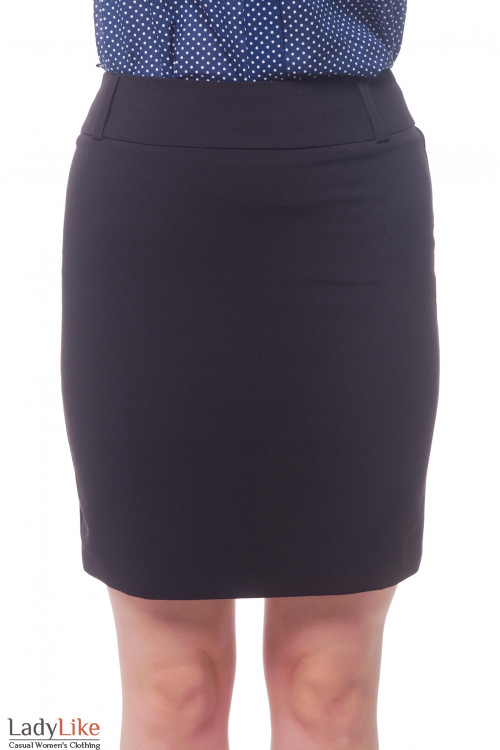 Черная короткая юбка со шлевками на поясе Деловая женская одежда фото