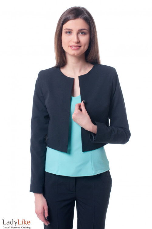 Кардиган черный короткий Деловая женская одежда фото