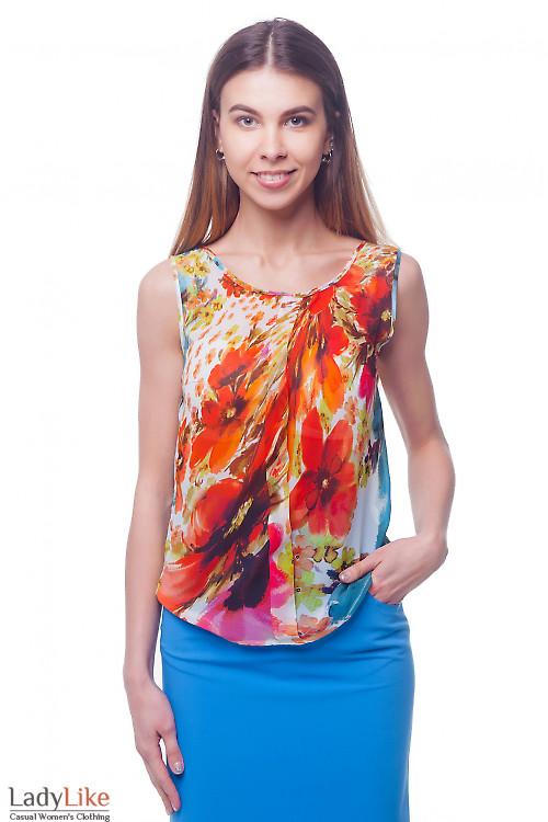 Легкий шифоновый топ в цветы Деловая женская одежда