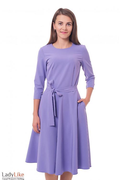 Платье пышное с поясом фиолетовое Деловая женская одежда фото