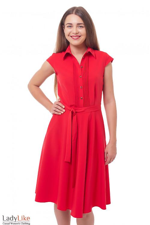 Платье с пышной юбкой и защипами красное Деловая женская одежда фото