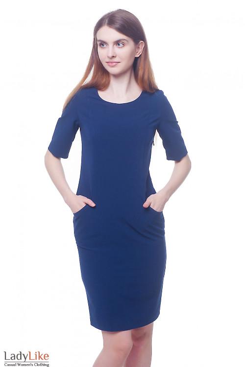 Платье синее с карманами в рельефах Деловая женская одежда фото