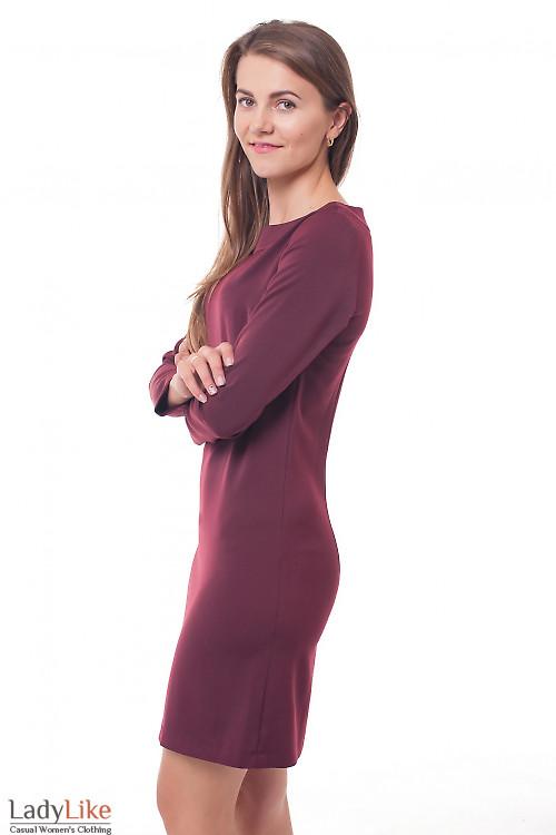 Платье теплое бордовое Деловая женская одежда фото