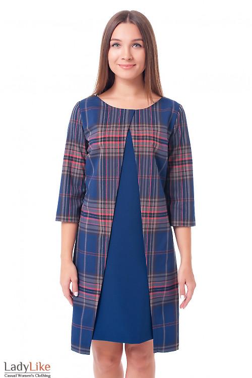 Платье в клетку с синей вставкой Деловая женская одежда фото