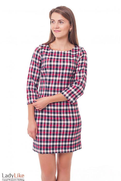 Платье в малиновую клетку Деловая женская одежда фото