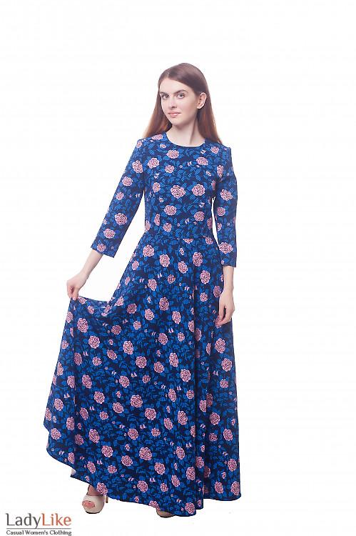 Платье в пол в кремовые розы Деловая женская одежда фото