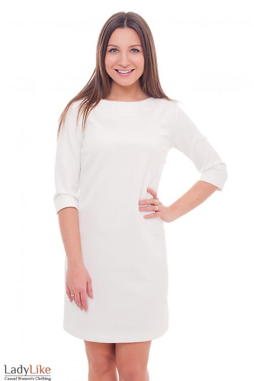 Теплое белое платье Деловая женская одежда фото