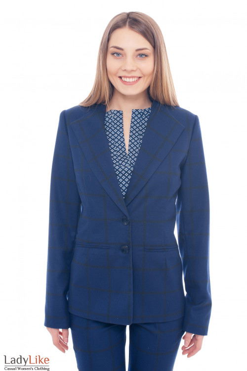 Жакет синий в черную клетку Деловая женская одежда фото