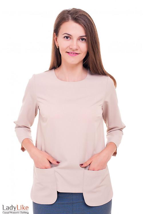 Блузка бежевая с накладными карманами Деловая женская одежда фото