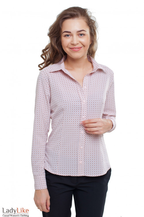 Блузка бледно-розовая в серые квадратики Деловая женская одежда фото
