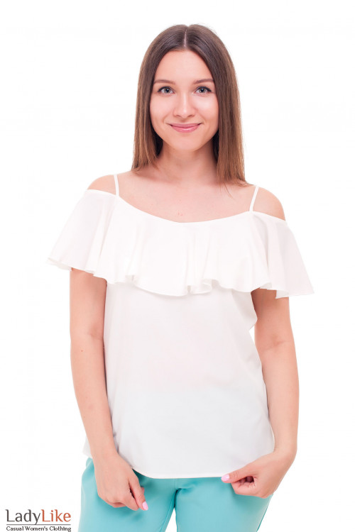 Блузка молочная с широким воланом Деловая женская одежда фото