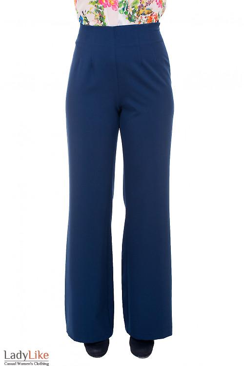 Брюки палаццо синего цвета Деловая женская одежда фото