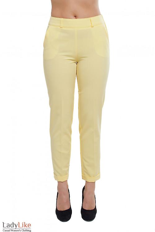 Брюки с молнией сбоку желтые Деловая женская одежда фото