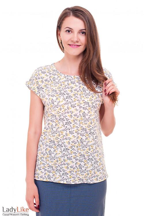 Футболка в серо-желтый цветок Деловая женская одежда фото
