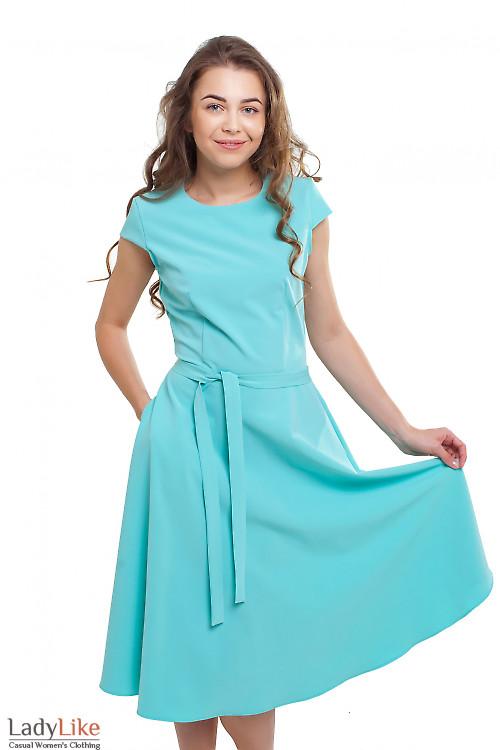 Платье пышное с коротким рукавом бирюзовое Деловая женская одежда фото