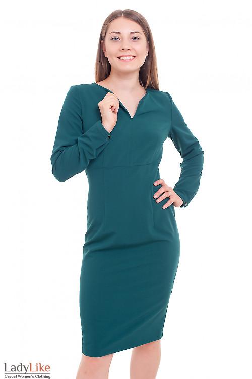Платье с длинным рукавом зеленое Деловая женская одежда фото