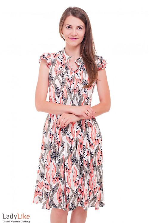 Платье штапельное в ландыши Деловая женская одежда фото