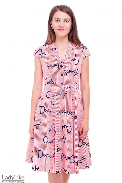 Платье в красную полоску с буквами Деловая женская одежда фото