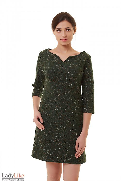 Платье зеленое с цветными точками Деловая женская одежда фото