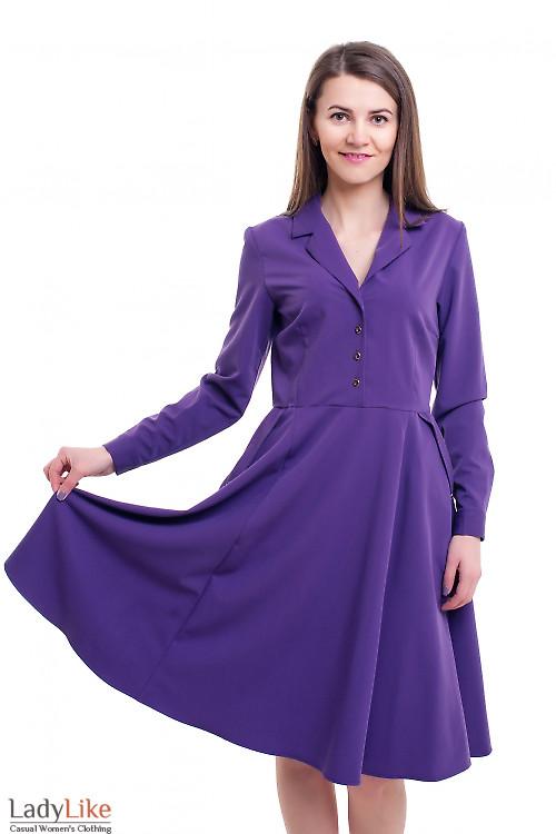 Сиреневое платье с воротником Деловая женская одежда фото