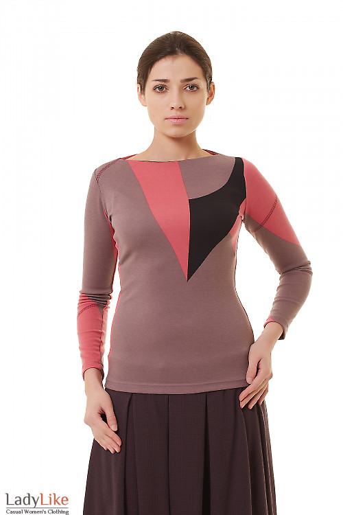 Туника розовая с черным Деловая женская одежда фото