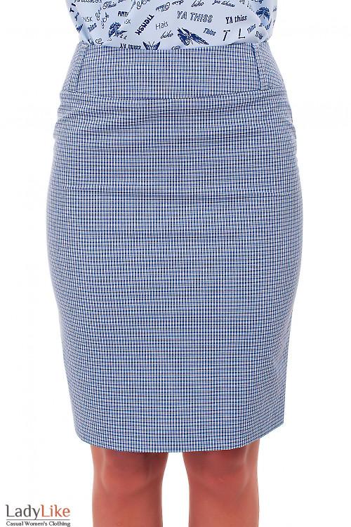 Юбка летняя в синюю клеточку Деловая женская одежда фото