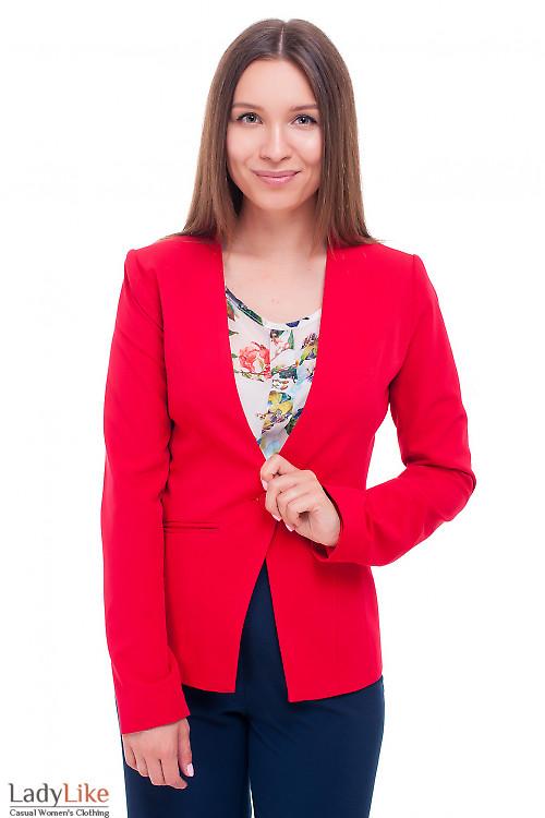 Жакет красный удлиненный без воротника Деловая женская одежда фото