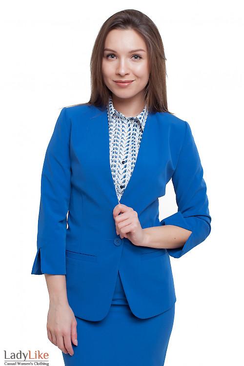 Жакет с коротким рукавом ярко-синий Деловая женская одежда фото