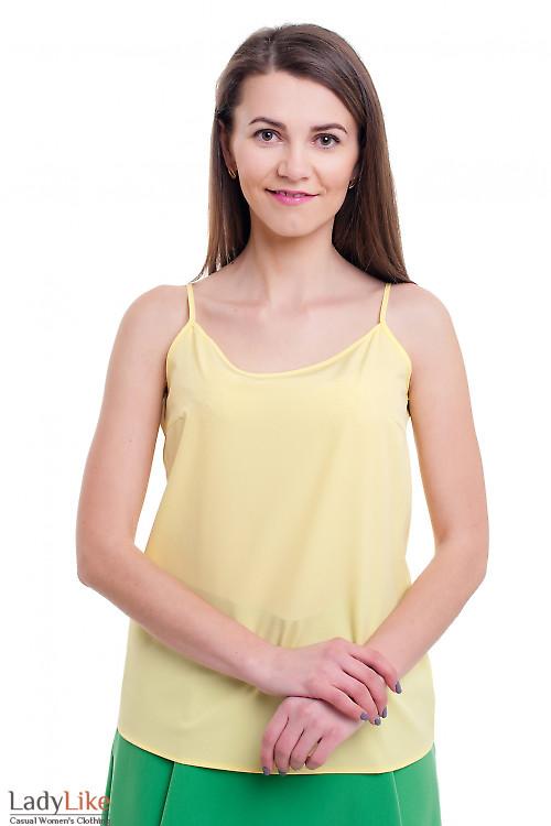 Желтый топ на тонких бретелях Деловая женская одежда фото