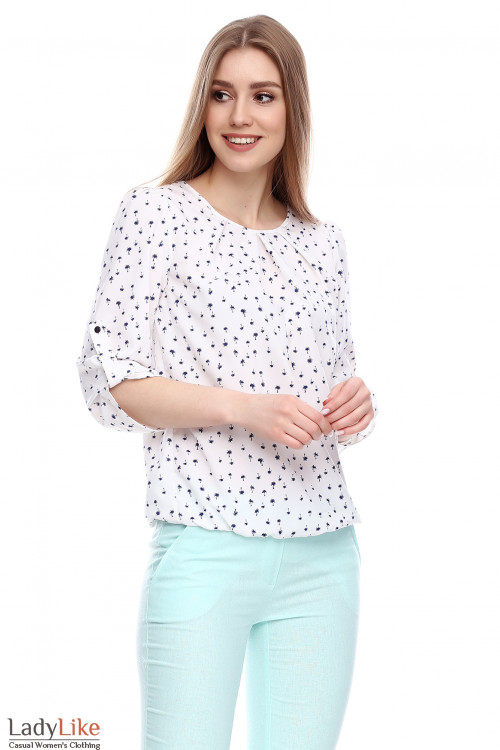 Блузка молочная в пальмочки Деловая женская одежда фото