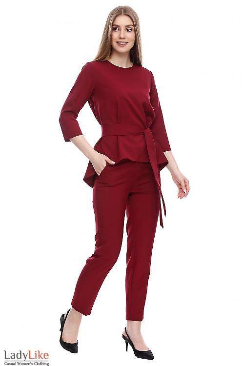 Брюки с высокой посадкой бордовые Деловая женская одежда фото