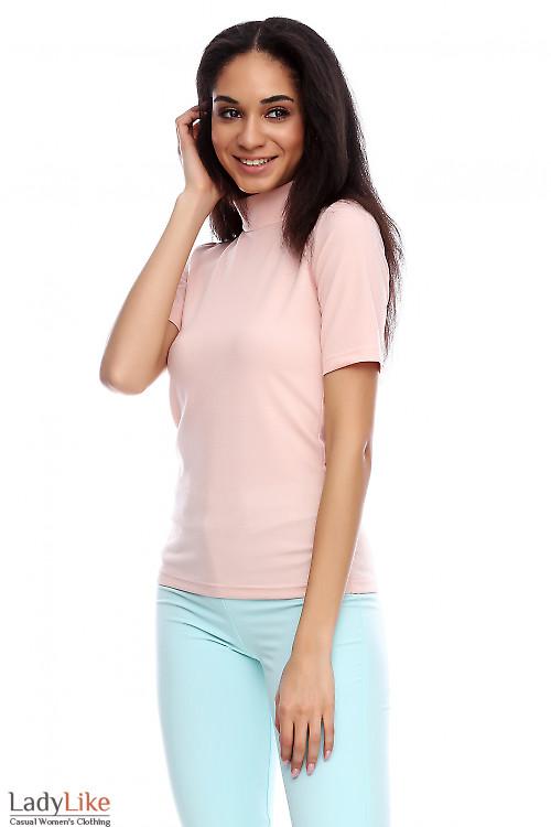 Гольф с коротким рукавом блестящий бежевый Деловая женская одежда фото