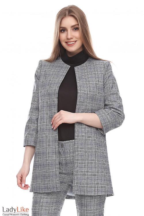 Кардиган в черно-белую клетку Деловая женская одежда фото