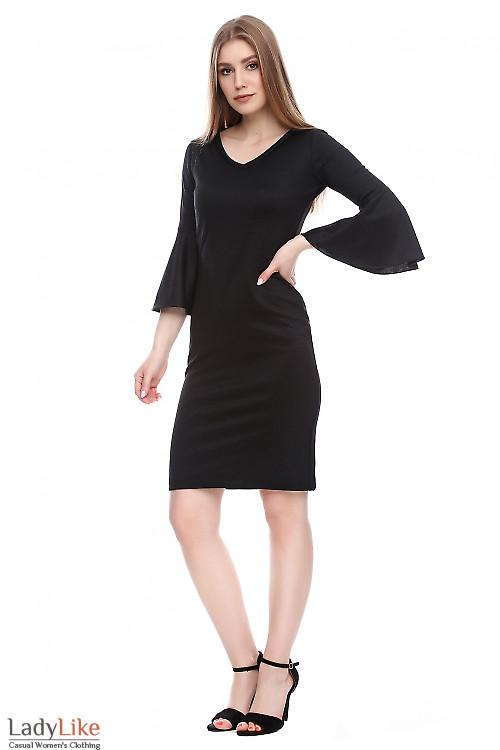 Платье черное блестящее Деловая женская одежда фото