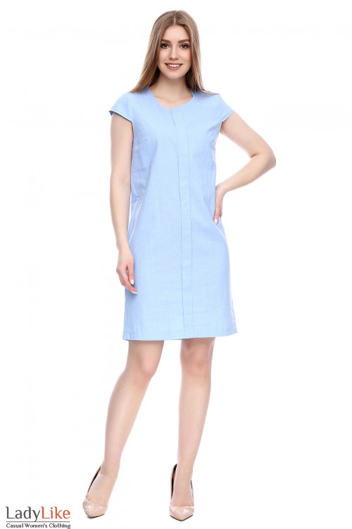 Платье льняное голубое Деловая женская одежда фото