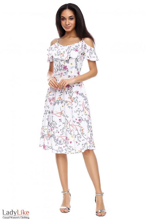 Платье молочное в цветы с рюшью Деловая женская одежда фото