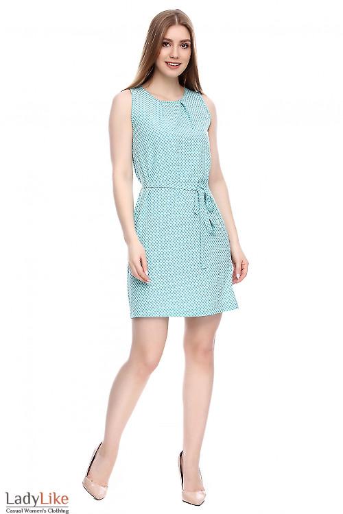 Платье мятное в мелкую точечку Деловая женская одежда фото