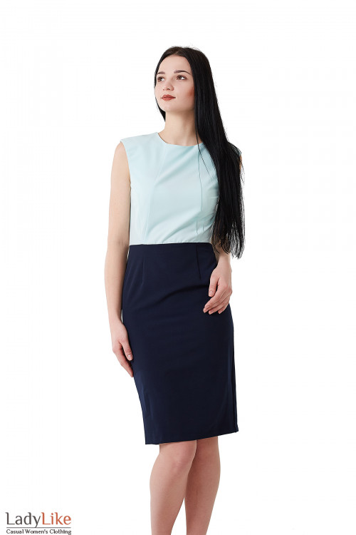 Платье синее с бирюзовым верхом. Деловая женская одежда фото