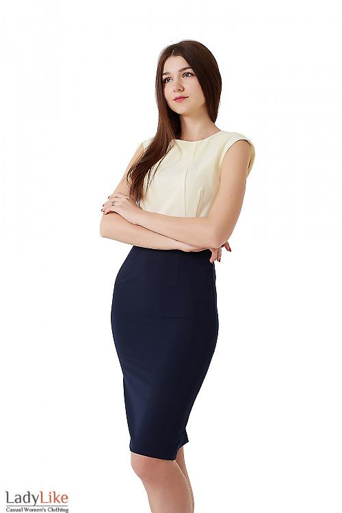 Платье синее с желтым верхом. Деловая женская одежда фото