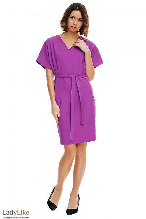 Платье сиреневое с двумя защипами по бокам Деловая женская одежда фото