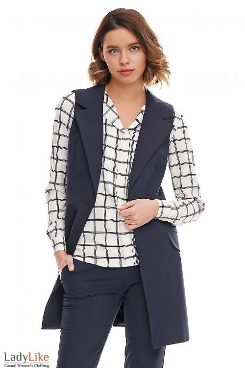 Синяя жилетка удлинённая на пуговицах Деловая женская одежда фото