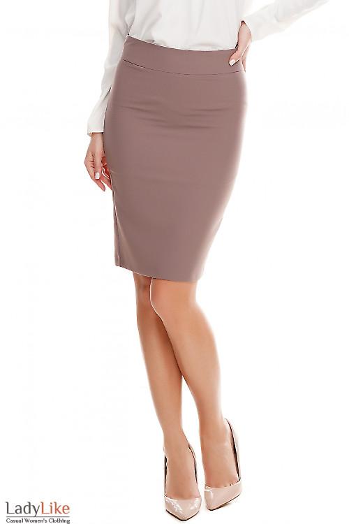 Юбка хаки с кантом в поясе Деловая женская одежда фото