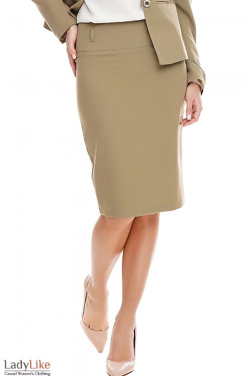 Юбка карандаш оливковая Деловая женская одежда фото