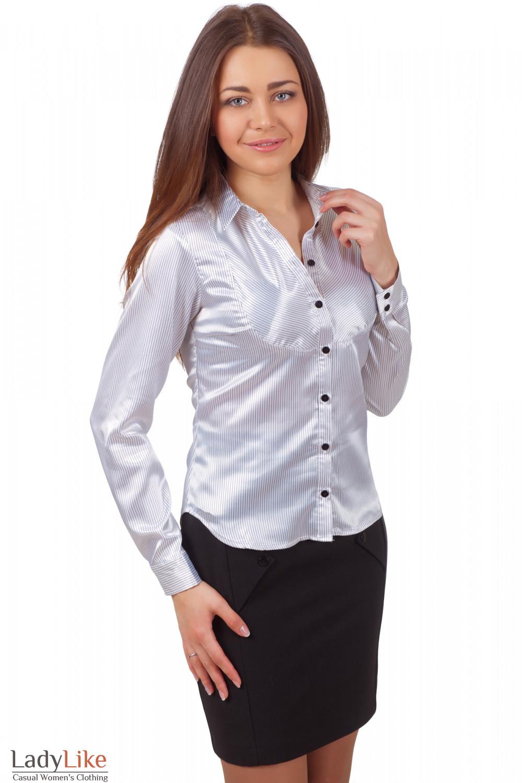 Блузка Серая Полоска Мелкая Фото