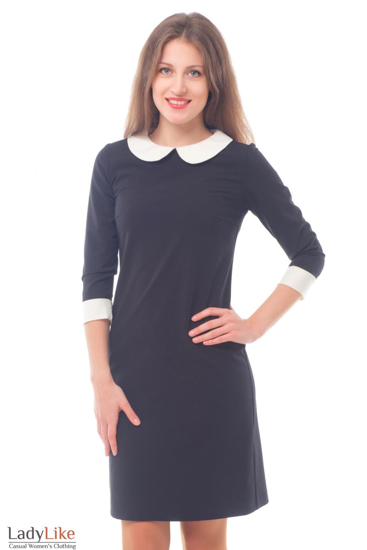 Купить Платье Черное С Белым Воротничком